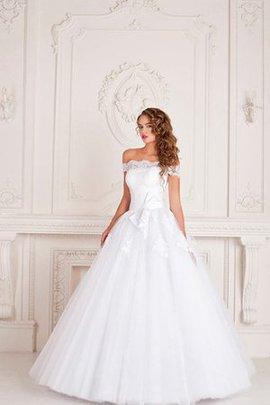 Robe de mariée avec perle encolure ronde cordon de traîne courte en chiffon