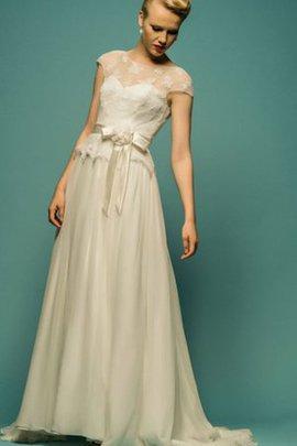Robe de mariée humble naturel avec nœud textile en tulle avec manche courte