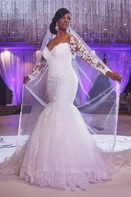 Robe de mariée naturel appliques avec manche longue de traîne courte de sirène