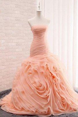 Robe de mariée de sirène jusqu'au mollet cordon pendant manche nulle