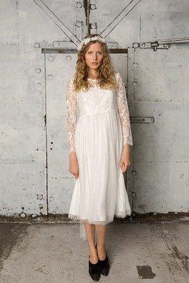 Robe de mariée facile plissage ligne a de col bateau avec manche longue