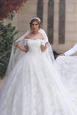 Robe de mariée naturel avec manche courte de traîne moyenne epaule nue textile en tulle