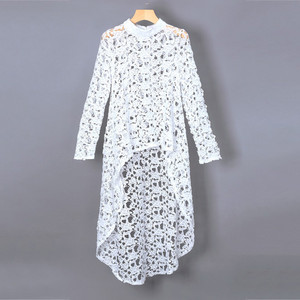 Robe tunique sexy unicolore modeste dentelle cardigan