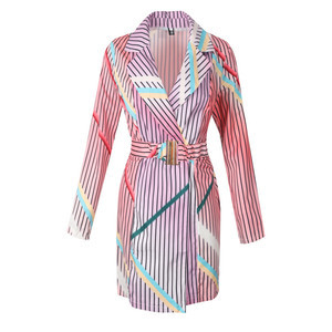 Robe polyester tunique cardigan col en v modeste plaid
