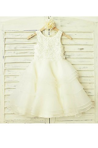 Robe de cortège enfant naturel de princesse encolure ronde ligne a en tulle - photo 2