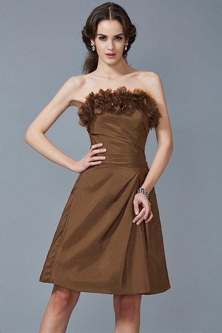 Robe demoiselle d'honneur courte naturel de fourreau de bustier en taffetas - photo 4