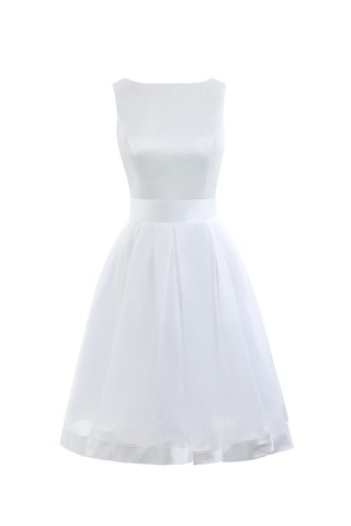 Robe de mariée simple solennel a-ligne de longueur à genou en arc-en-ciel - photo 1