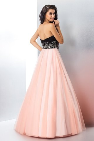 Robe de quinceanera longue naturel fermeutre eclair longueur au ras du sol en satin - photo 2