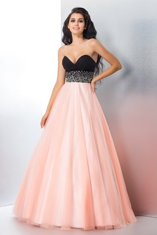 Robe de quinceanera longue naturel fermeutre eclair longueur au ras du sol en satin - photo 1