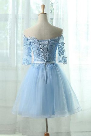 Robe de graduation simple en dentelle appliques en tulle cordon - photo 2