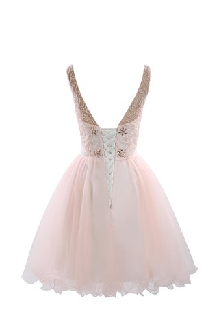 Robe de cocktail romantique col en bateau textile en tulle de princesse en forme - photo 6