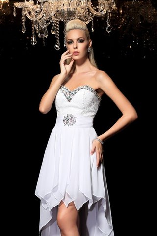 Robe de cocktail haut bas manche nulle ligne a de princesse en chiffon - photo 6