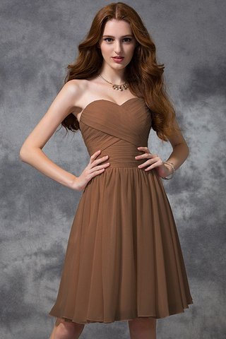 Robe demoiselle d'honneur naturel de princesse ruché avec zip avec chiffon - photo 4