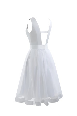 Robe de mariée simple solennel a-ligne de longueur à genou en arc-en-ciel - photo 8