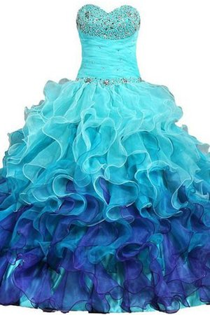 Robe de quinceanera naturel longue avec lacets en satin manche nulle - photo 1