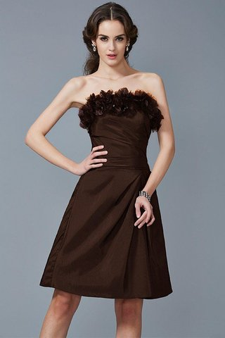 Robe demoiselle d'honneur courte naturel de fourreau de bustier en taffetas - photo 7