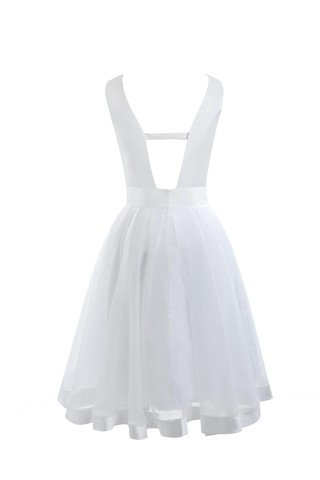 Robe de mariée simple solennel a-ligne de longueur à genou en arc-en-ciel - photo 6