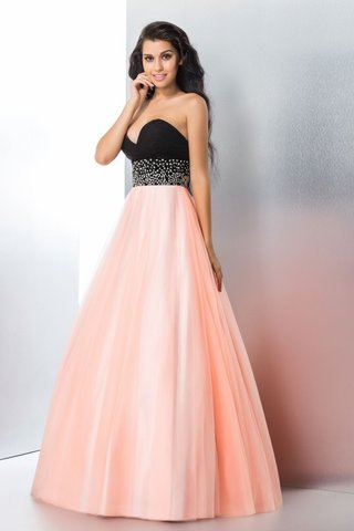 Robe de quinceanera longue naturel fermeutre eclair longueur au ras du sol en satin - photo 4