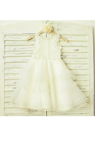 Robe de cortège enfant naturel de princesse encolure ronde ligne a en tulle - photo 3