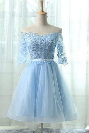 Robe de graduation simple en dentelle appliques en tulle cordon - photo 1