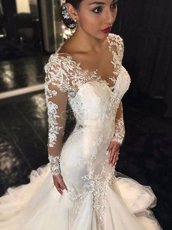 Robe de mariée naturel avec décoration dentelle de col en v de traîne  moyenne dos nu ... 3f6f6a76ecd5