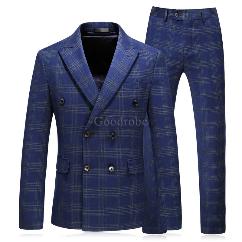 Costume slim fit 3 pièces bleu marine grande taille 5xl smoking - photo 1