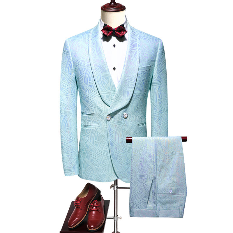 Costume ensemble party costume pour mariage hommes mariage costumes double boutonnage - photo 1