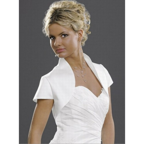 Parfait taffetas blanc bolero modeste simple - photo 1