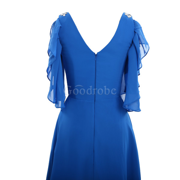 Robe de cocktail solennelle chic v encolure de princesse asymétrique