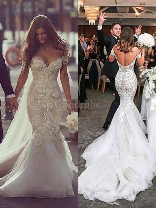 moitié prix prix le plus bas en ligne à la vente Robe de mariée naturel de traîne mi-longue de sirène d ...