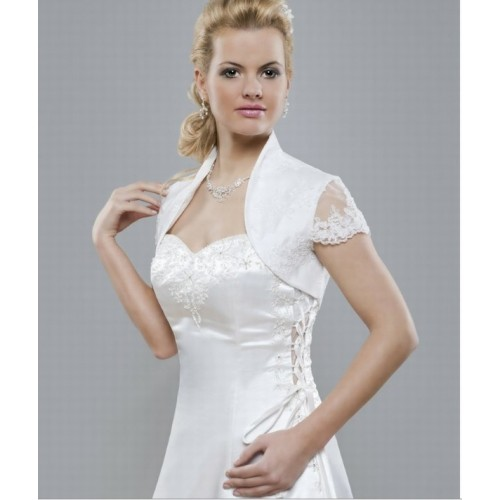 Fabuleux blanc taffetas dentelle luxueuse ourlet bolero - photo 1