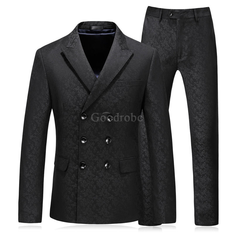 Décontracté groomsman hommes costume double boutonnage costumes smart - photo 1