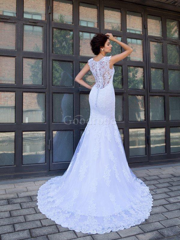 robe de mari e decoration en fleur en satin de tra ne mi longue v encolure de sir ne goodrobe. Black Bedroom Furniture Sets. Home Design Ideas