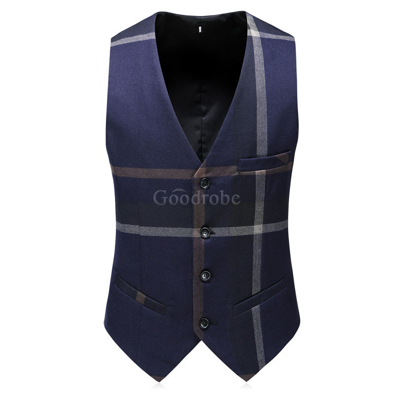 Slim fit smoking rayé grille gilet pantalon hommes costumes - photo 5