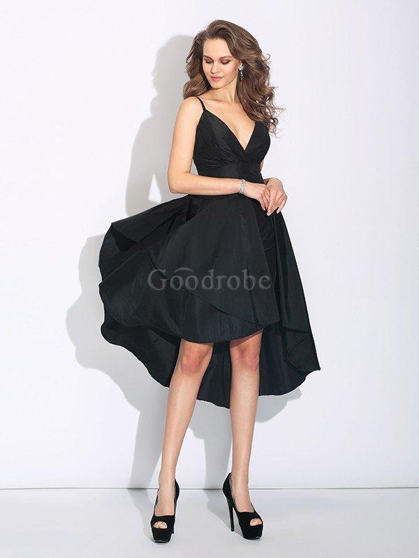 331109916ea951 Robe de soirée a-ligne de princesse haut bas asymétrique bretelles ...