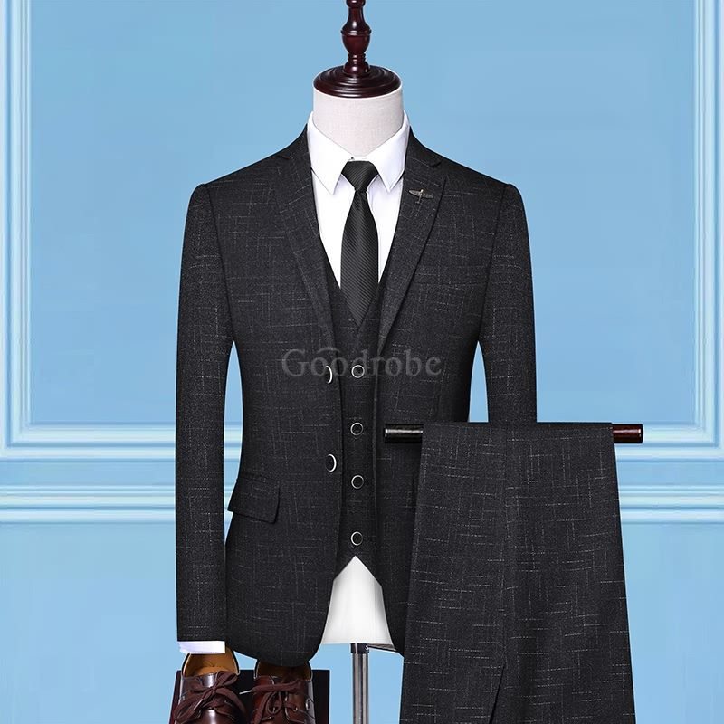 Costume d'affaires 3 pièces plaid formel de mode hommes - photo 2