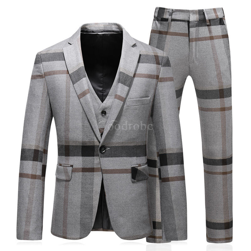 Slim fit smoking rayé grille gilet pantalon hommes costumes - photo 1