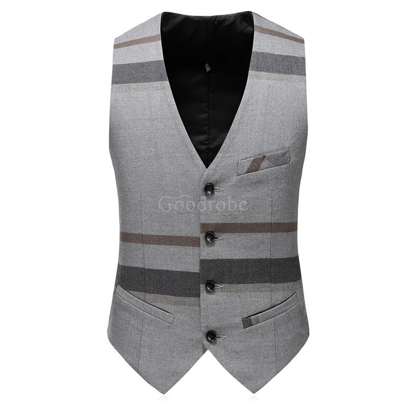 Slim fit smoking rayé grille gilet pantalon hommes costumes - photo 2